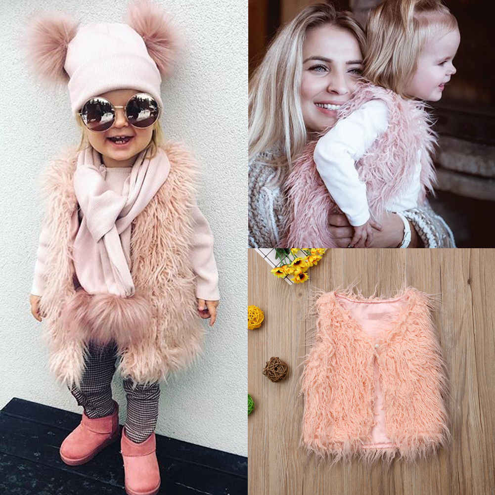 356447a21 2018 New Toddler Kids Baby Girl Faux Fur Tops Vest Pink Warm Fashion Winter  Coat Outerwear Jacket Waistcoat Outfit 1-6Y