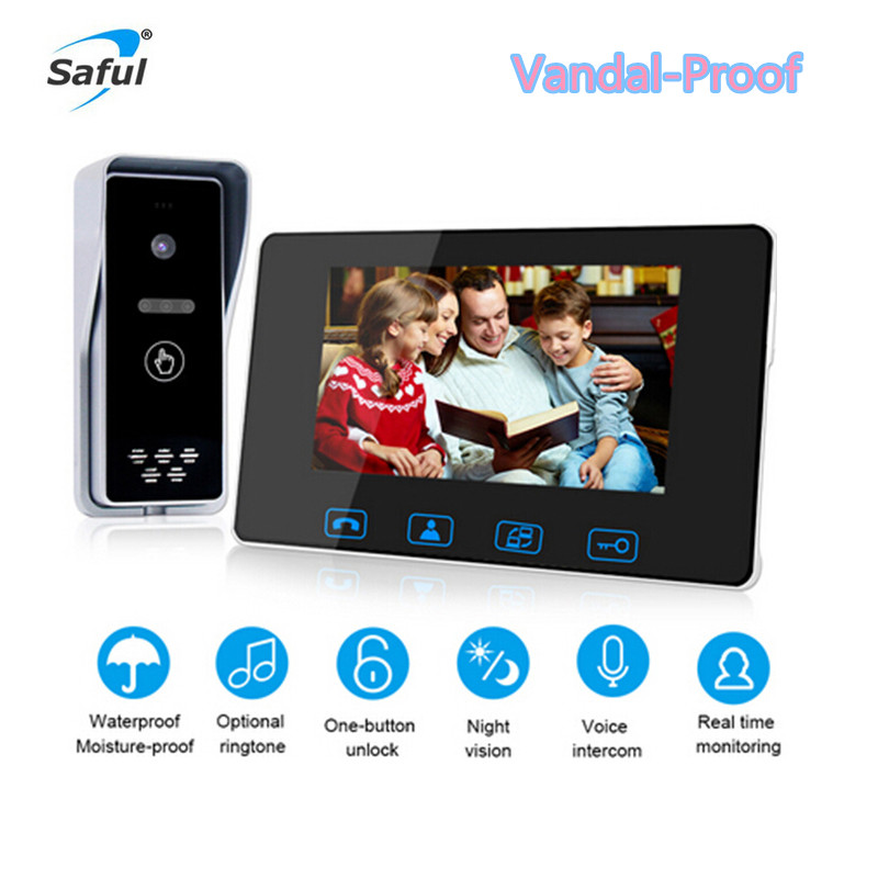 Saful Newest 7'' LCD Color Screen Vandal Proof Wired Video Door Phone with Waterproof Camera Video Intercom Doorbell For Home