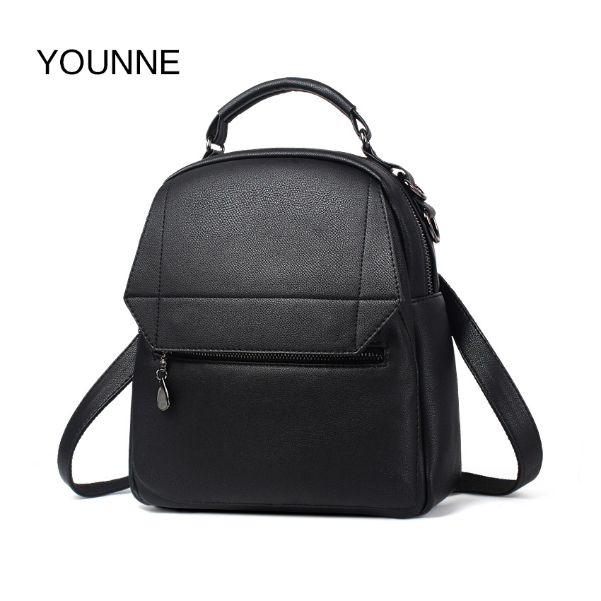 YOUNNE Designer Backpack Women Solid PU Leather Backpacks Black Teenager Girls School Bag High Quality Satchels Travel Bags 2018