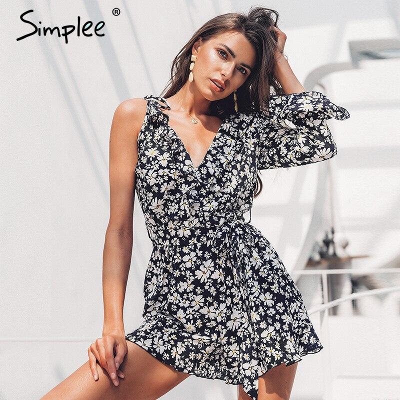 Simplee Sexy ruffled v-neck bohemian women playsuit Elegant floral print female short   jumpsuit   romper Summer beach wear overalls