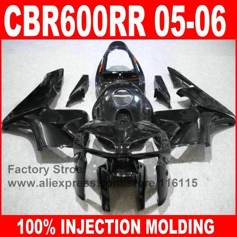 Custom free Injection motorcycle parts for HONDA 2005 2006 CBR 600RR 05 06 CBR600RR fairings full glossy black body fairing kits