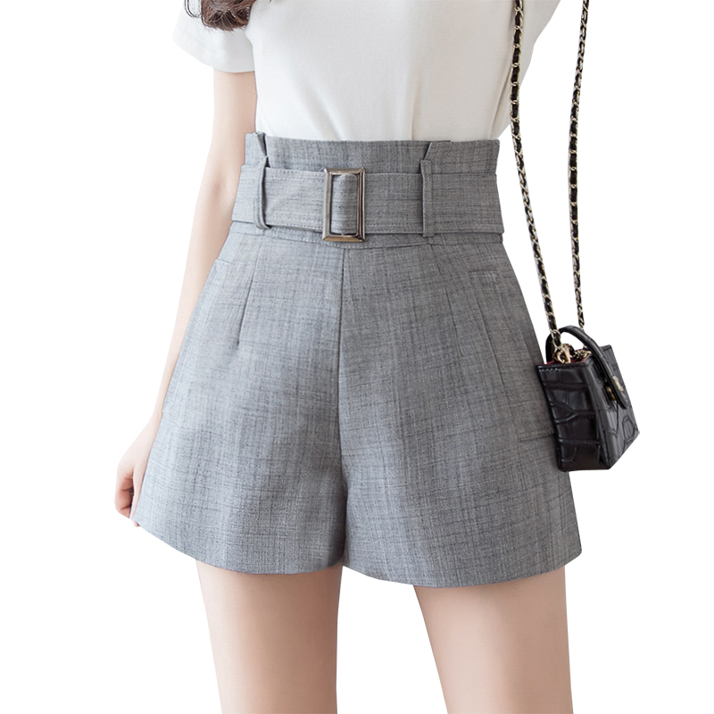 Elegant High Waist Shorts For Women Summer Bud Wide Leg Women Shorts 2019 New Korean Slim A Line Suit Belted Office Short Pants