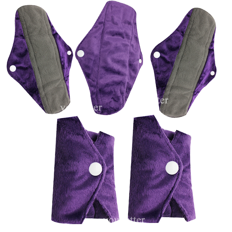5 PCSLOT Charcoal Bamboo Mama Menstrual Cloth Pads Washable Healthier Sanitary Pads