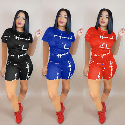 2 Pcs/Sets Tracksuit Summer Short Sleeve T-shirt For Women Spring Shorts Suits Casual Basic Tee shirt + Shorts 2 piece set women(China)