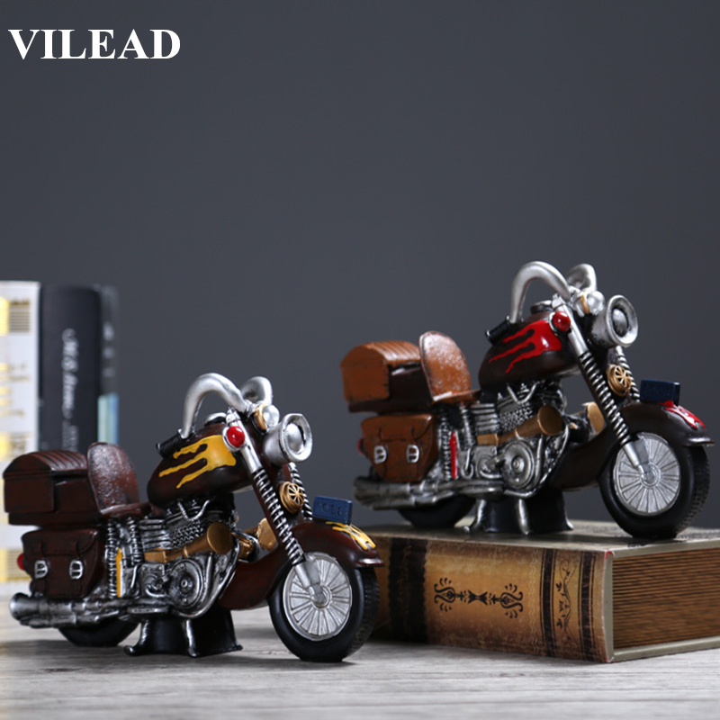 VILEAD Resin Europe Motor Figurines 26x15.5x8cm Vintage Motorcycle Souvenirs Home Decor Beautiful New Year Decoratioin Gifts