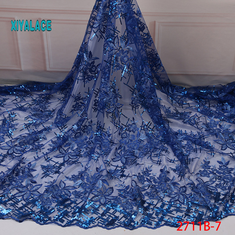 Blue 2019 Latest Nigerian Organza Lace Fabrics High Quality African Sequins Laces Fabric French Tulle Lace Material YA2711B-7