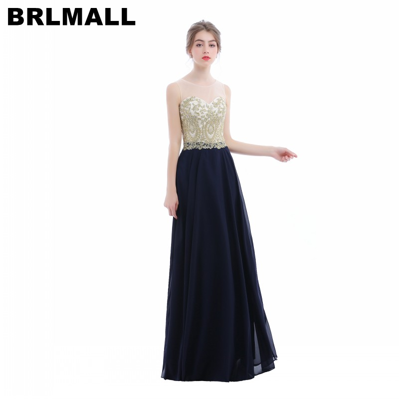 BRLMALL Elegant Gold Applique Crystal Empire Waist Evening Dresses ...