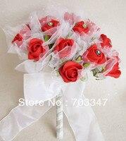(1 יח'\חבילה) די Diamante קצף רוז W/טול חתונה זר באדום * משלוח חינם *