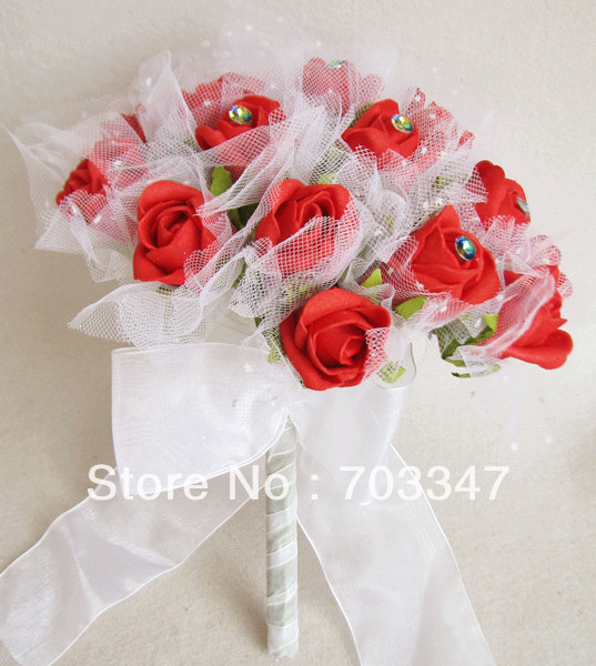 (1pc/lot) Pretty Diamante Foam Rose W/Tulle Wedding Bouquet In Red *Free Shipping*