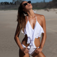 OMKAGI Brand Solid One Piece Swimsuit Women Swimwear Sexy Push Up Bodysuit Bathing Suit Summer Beachwear