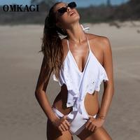 OMKAGI Brand Solid One Piece Swimsuit Women Swimwear Sexy Push Up Bodysuit Bathing Suit Summer Beachwear