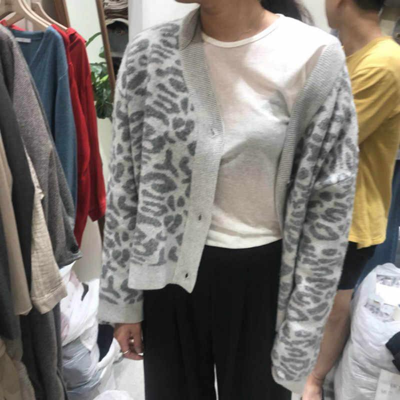Femmes automne hiver léopard Cardigan chandail manteau Femme à manches longues grande taille extérieur tricoté hauts pull Femme jersey sueter
