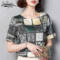 Blusas mujer de moda 2019 Blusa de gasa con estampado de cuadros de manga corta para mujer Camisetas de talla grande 3959 50