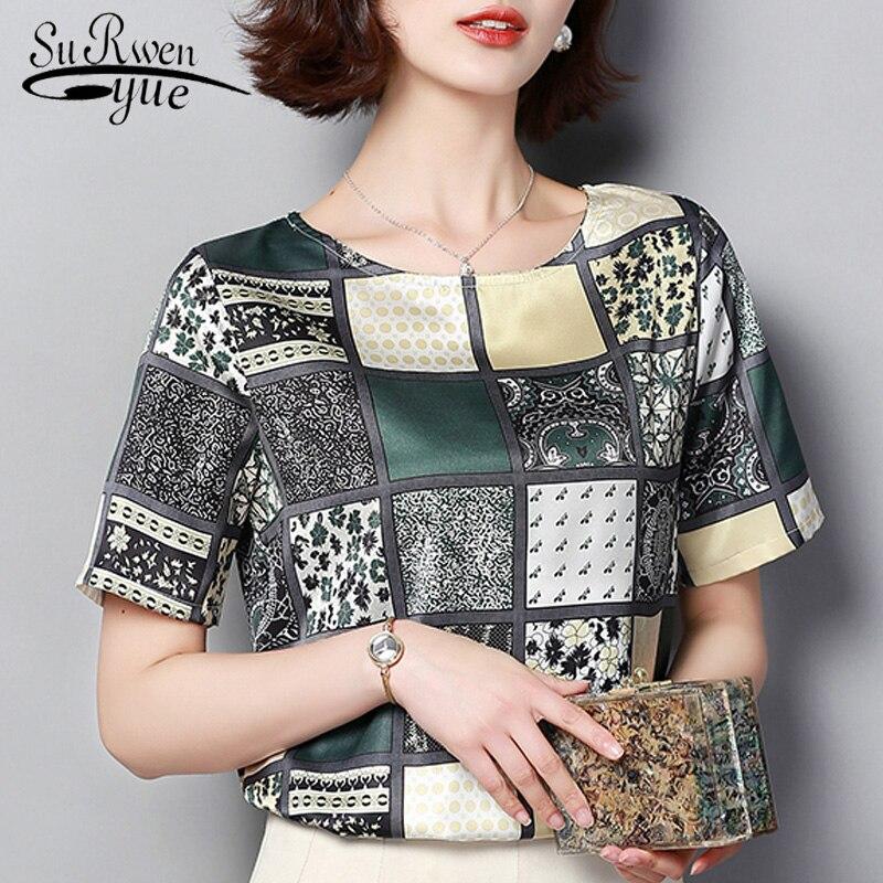 Blusas Mujer De Moda 2019 Plaid Print Chiffon Blouse Short Sleeve Women Shirts Plus Size Tops Camisas Mujer Women Tops 3959 50