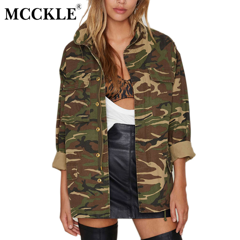 MCCKLE Women S Camouflage Long Jacket Stand Collar Army Green Streetwear Coat 2017 Autumn Winter Female