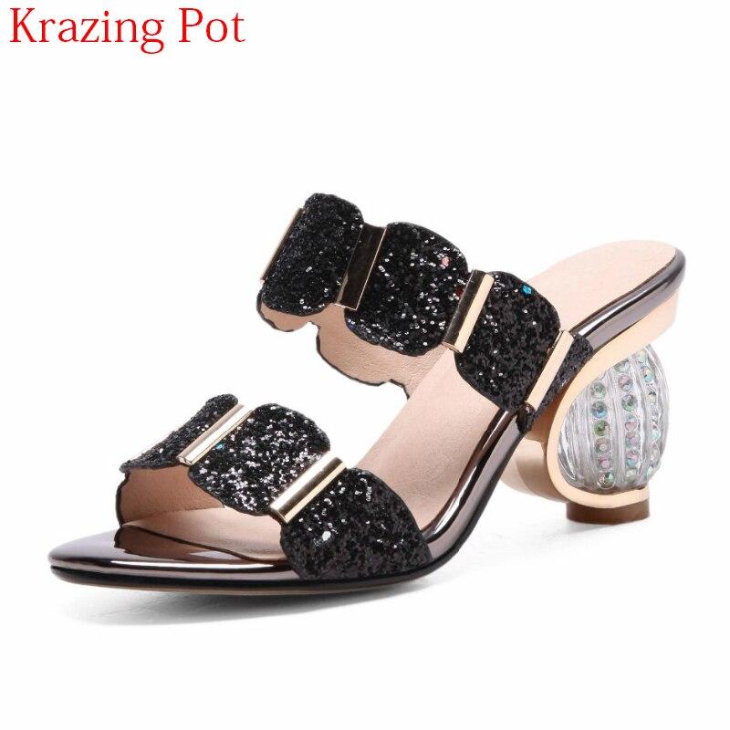 2019 marke Sommer Schuhe Peep Toe Kristall High Heels Frauen Sandalen Bling Runway Handgemachte Maultiere Moderne Mädchen Außerhalb Pantoffel L0f1-in Hohe Absätze aus Schuhe bei  Gruppe 1