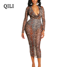 QILI Snake Printed Mesh Dress Women V-neck Long Sleeve Sexy See Through Pencil Dress Party Club Bodycon Dress Female цена и фото