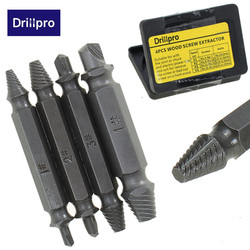 4 Pçs/set Double Side Danificado Parafuso Extractor Broca Bits Fora Removedor de Parafuso de Cravo Ferramenta de Preços Por Atacado