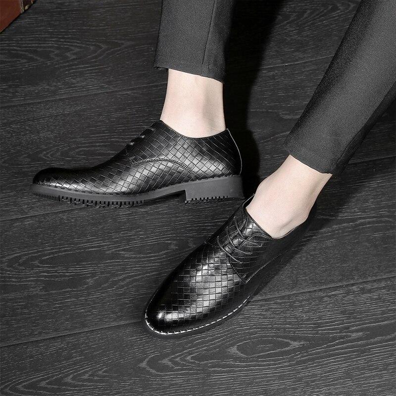 Respirável Couro De Novos Sapatos Lace Apontou Dos up Homens Casuais Tecelagem Confortável Formal Liso brown Toe Negócios Sapatas black White gray 0xqw57q