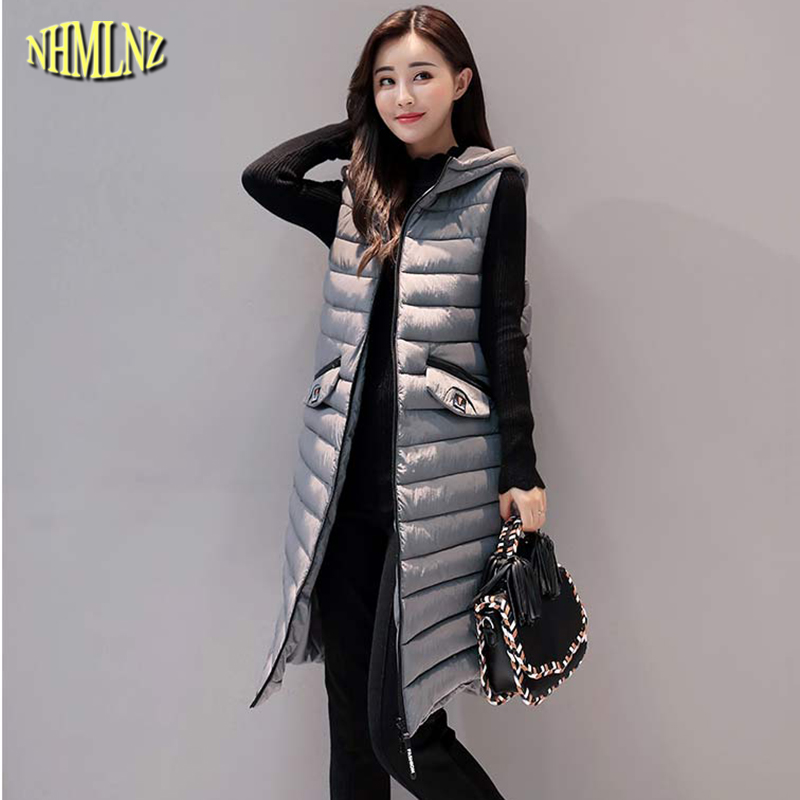 2017 Autumn And Winter Women Jacket Fashion Solid color Medium long Cotton Vest New Comfortable Warm