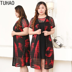 TUHAO женское платье из двух частей плюс размер 10XL 8XL 6XL женская одежда Винтаж Офисная Леди Большой размер женские платья большой размер s