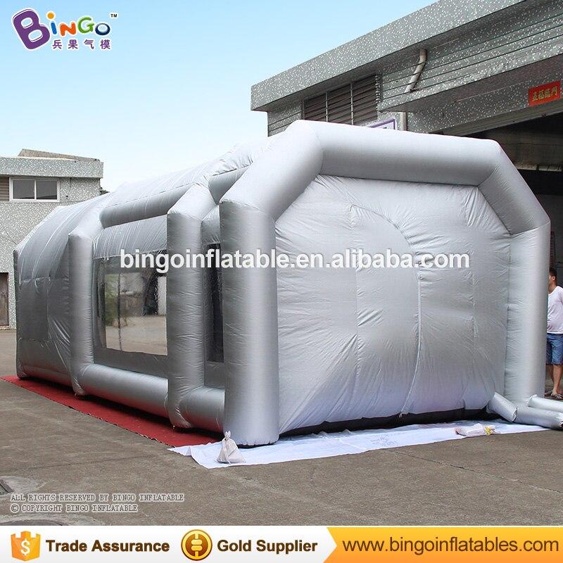 Cabine gonflable argentée adaptée aux besoins du client de peinture de jet de 9x4x3 m pour imprimer le poste de travail mobile de tente de jouet de cabine de haute qualité d'affaires