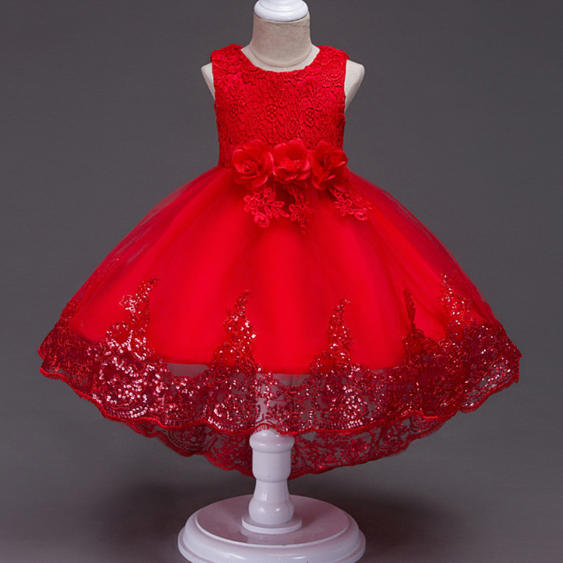 2019 Trailing Flowers Wedding Clothes Girl Dress First Communion Dresses Kids Ball Gown Children Clothing  Vestido Comunion