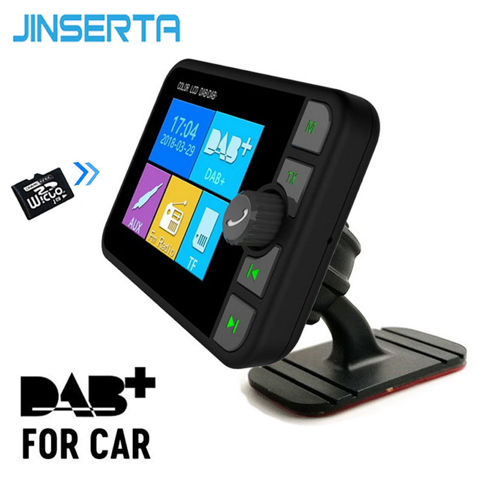 JINSERTA Car DAB Wireless Bluetooth FM Radio Transmitter Receiver USB Handsfree with antenna long range Cars
