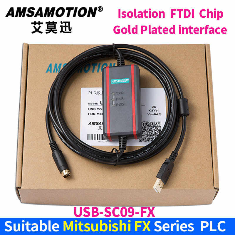 USB-SC09-FX for Mitsubishi FX1N FX2N FX1S FX3U Series PLC Programming Cable Data Download Cable Gold Plated Isolation Interface
