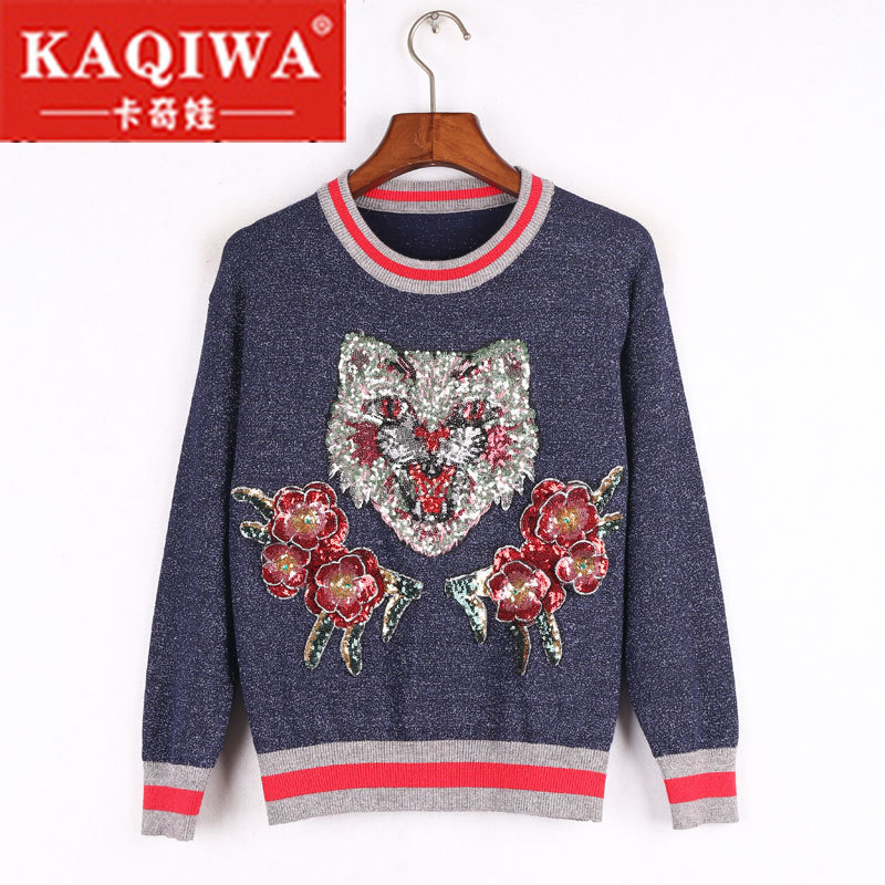 2018 New Sweater Female Pullovers Cat Embroidery 2018 Winter Spring Knitted Pullover Runway Designer Pearl Beading Tops Jumper