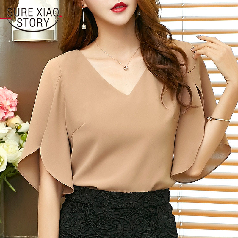 2017 summer New casual solid women Chiffon   Shirt   Female butterfly Sleeve Korean loose size women   blouse   top blusas 900C 30
