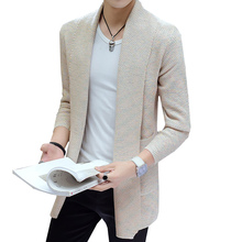 2018 Autumn New Mens Cardigan Sweater Slim Design Chinese style Male Medium-Long Youth Fashion Leisure Center Sweaters