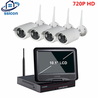 SSICON 4CH Outdoor IP Surveillance Security Camera System 720P Real WiFi Wireless NVR Kit 10 1