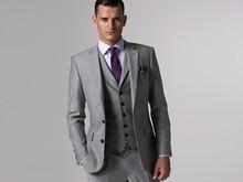 Gray Wedding Tuxedo Custom Made Grey Suits Gray Groom Suit Mens Gray Tuxedo Jacket,2017 Grey Wedding Tuxedos,3 Piece Grey Suit