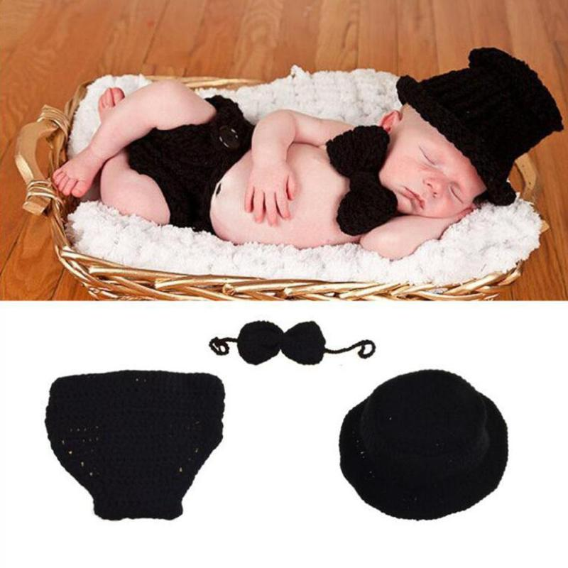 infant crochet baby costume photography props knitting baby hat bow Newborn baby photo props baby Boys cute outfits R2-16H cute newborn baby photography props outfits knit crochet hat tie pants costume set bebes roupa infantil bebek d