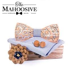 Деревянная бабочка Handky набор запонок деревянный галстук бабочка галстук для мужчин Свадебная вечеринка галстуки карман квадратный