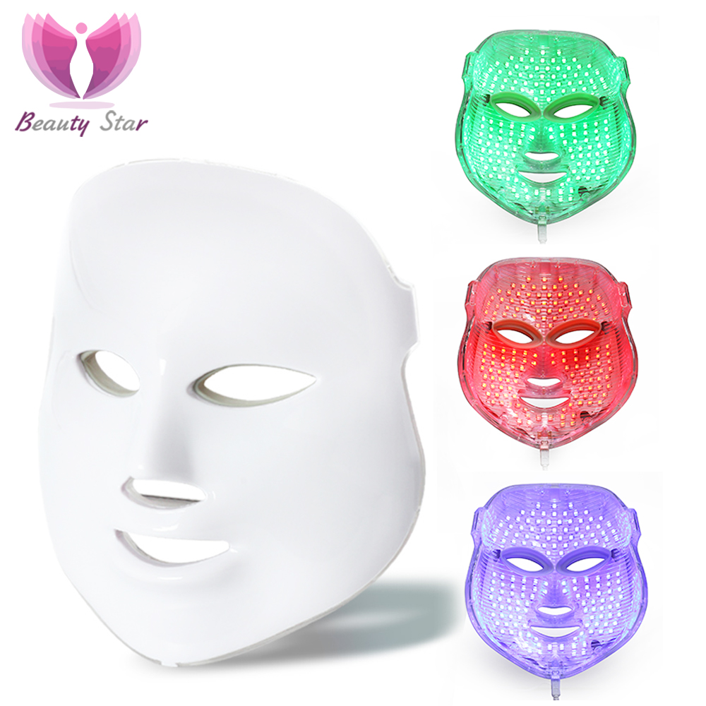 Beauty Star Skin Care LED Mask With 7 Color Photon Electric Face LED Mask Acne Removal