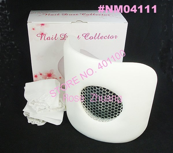 4 pcs/lot  White Curve Nail Art Dust Suction Collector with Hand Rest Design For Manicure and Pedicure Wholesales  SKU:E0224X