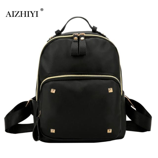 Fashion Waterproof Women Backpack Rivet Causal Black Leather Backpack  Quality College Wind Backpack for Teenage Girl 02bc8655be970