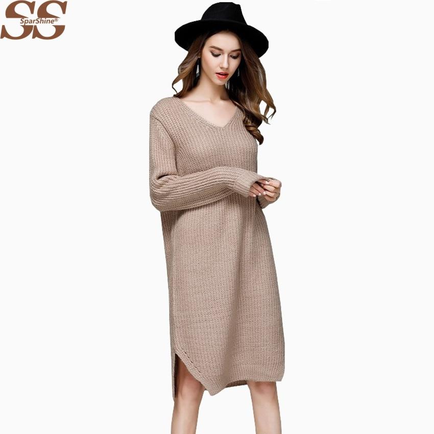SPARSHINE Vintage Women Knit Dress Long Sleeve V-neck Sweater Dress Casual Female Vestidos Knit Dresses Knitted Sweater Women cable knit a line sweater dress