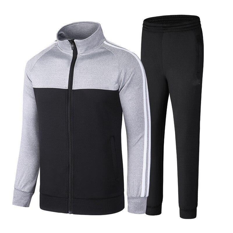 Men's Sportwear Suit Sweatshirt Tracksuit Without Hoodie Male Casual Spring Autumn Suit Zipper Outwear 2PC Jacket+Pants Sets