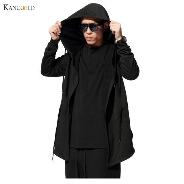 Zwarte Heren Trui.Mannen Zwarte Mantel Hoodies Sweatshirt Heren Lange Mouw Streetwear