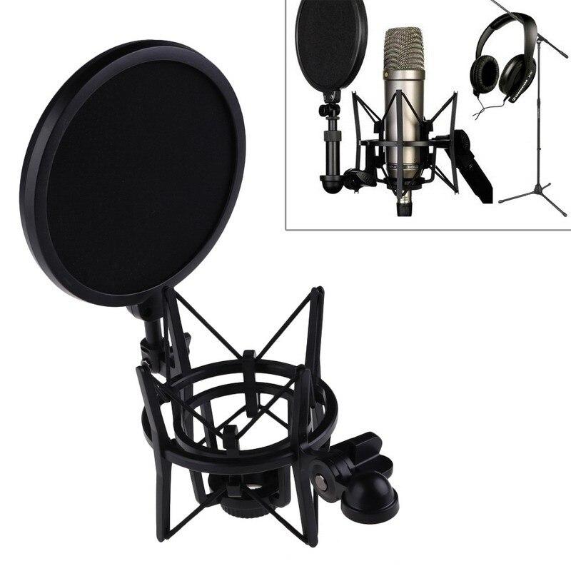 Microfono professionale Mic Shock Mount con Scudo Articolazione Testa Telescopica Altezza Microfono...