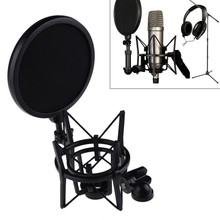 Professional Microphone Mic Shock Mount with Shield Articulating Head Telescoping Height Microphone Holder Stand Bracket