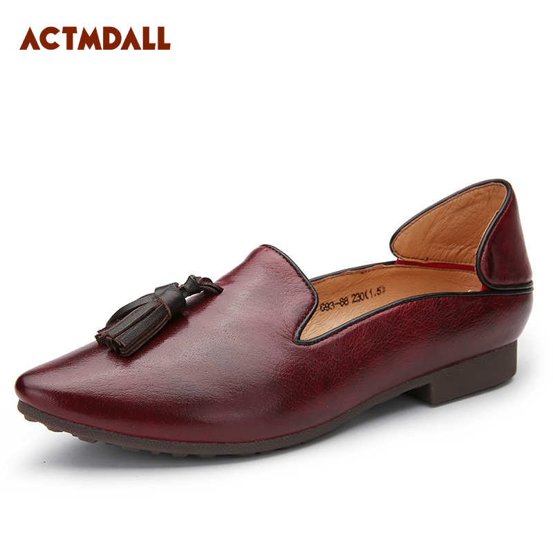 ACTMDALL 2018 Fashion Ladies Shoes Flats Pointed Genuine Leather Ballet Flats Women Soft Bottom Comfortable daitifen rome genuine leather women flat platform shoes soft outdoor activities fashion pointed toe elastic band ladies flats