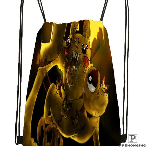 Custom Pokemon_pikachu Drawstring Backpack Bag Cute Daypack Kids Satchel (Black Back) 31x40cm#180611-01-43