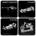 Pandamodel@HK NanYuan Chinese ICONX 3D Motorcycle/Formula car M82A1 Scoped Rifle  Metal model Nano Puzzles Stainless steel