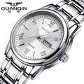 Luxury Brand GUANQIN Uhr Männer Luminous Quarzuhren 30 mt Wasserdichte Edelstahl Armbanduhren für Männer Uhr-in Quarz-Uhren aus Uhren bei