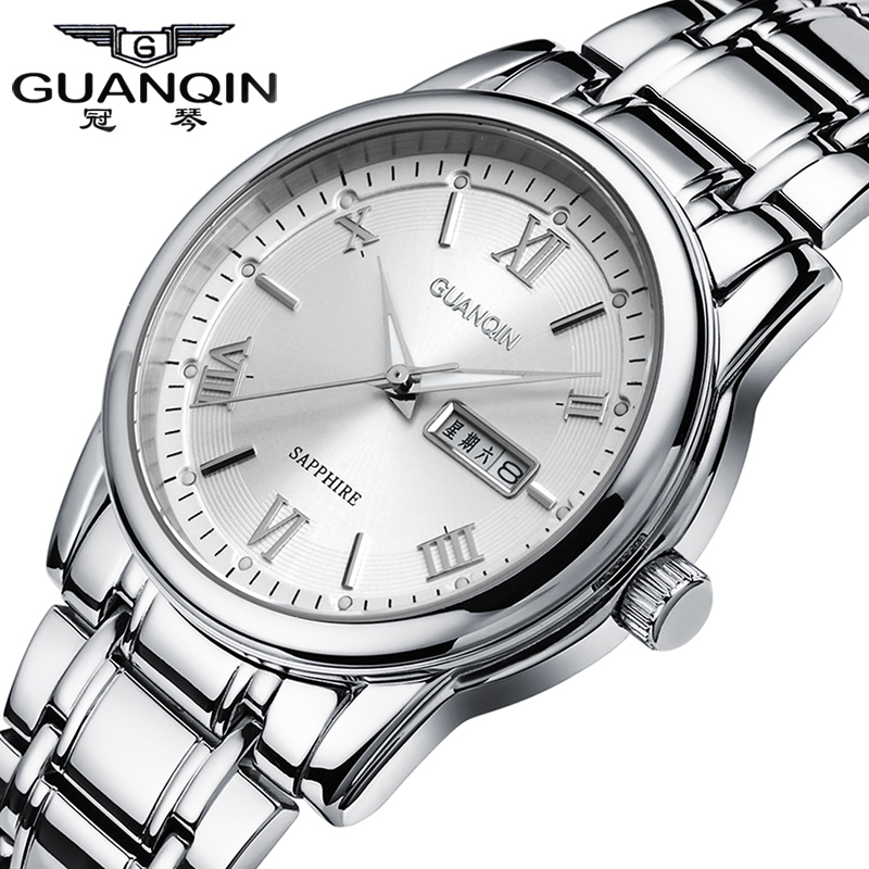 Luxury Brand GUANQIN Watch Men Luminous Quartz Watches 30m Waterproof Dress Watch Stainless Steel Wristwatches for Men Clock стоимость