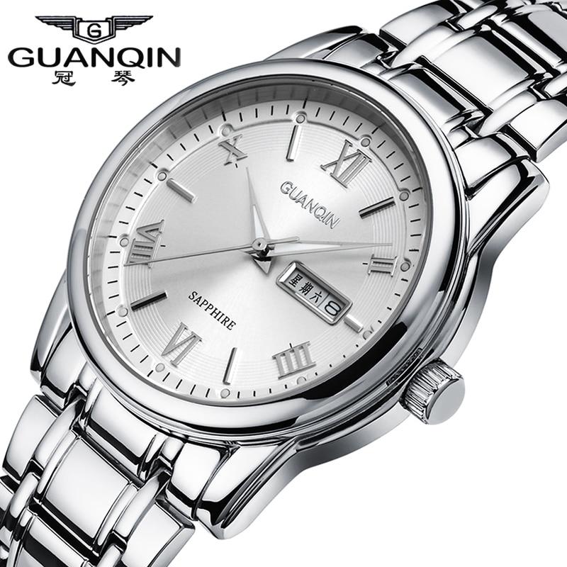ФОТО  Luminous GUANQIN Watch Men Quartz Watches 30m Waterproof Dress Stainless Steel Wristwatches for Clock